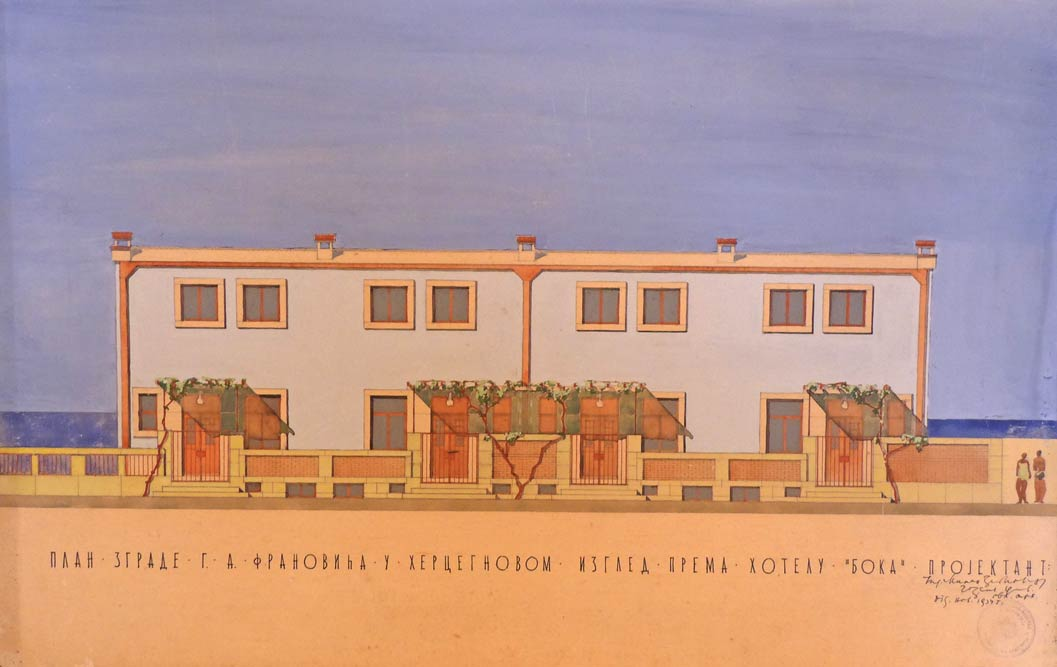 Crtež ulazne fasade, izgled prema susednom hotelu