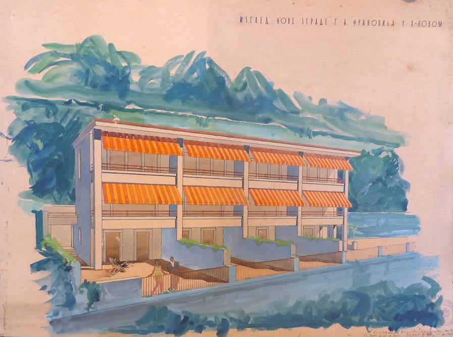 Perspektivni crtež vile Rivijera, pogled s mora