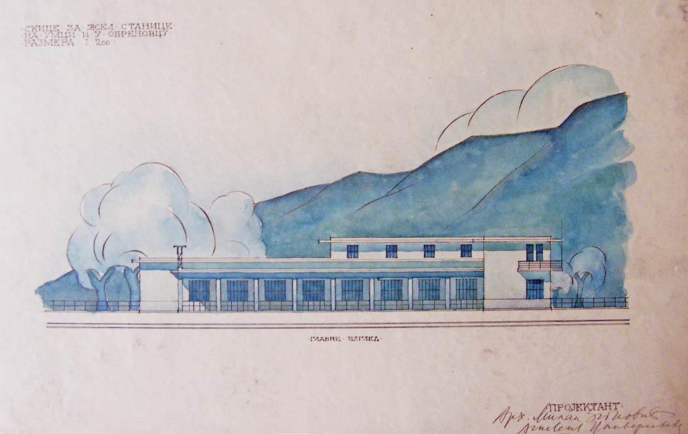 Crtež železničke stanice u Obrenovcu, glavni izgled