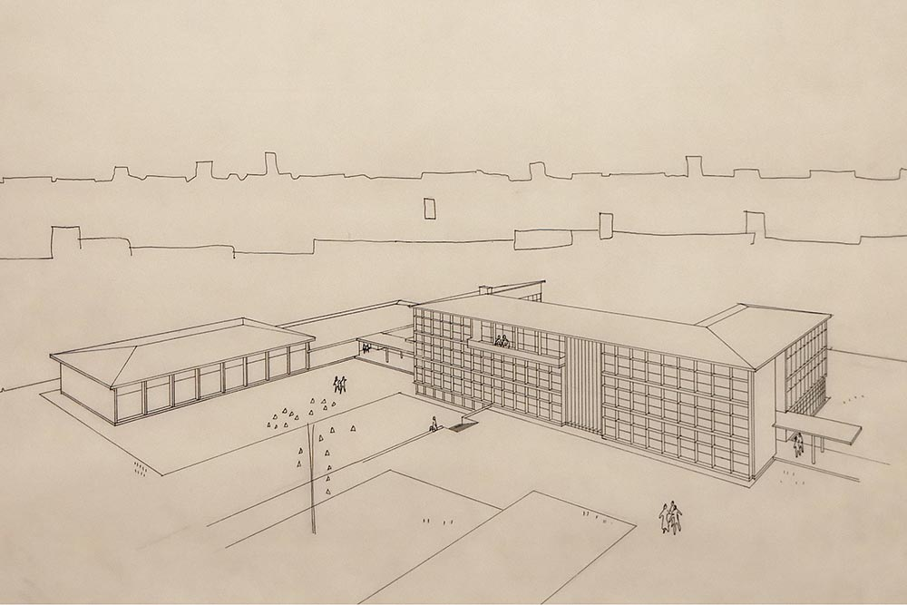 Perspective drawing of a school complex