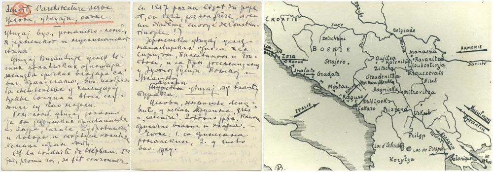 Beleške Milana Zlokovića sa studijskog poravka u Parizu (1922/23) i snimak mape područja širenja srpske srednjovekovne arhitekture iz knjige F. Benoa (1912)