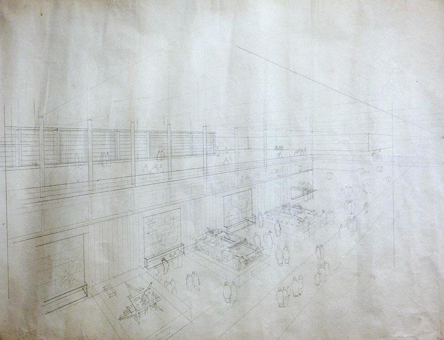 Perspective drawing of the interior of the fair hall