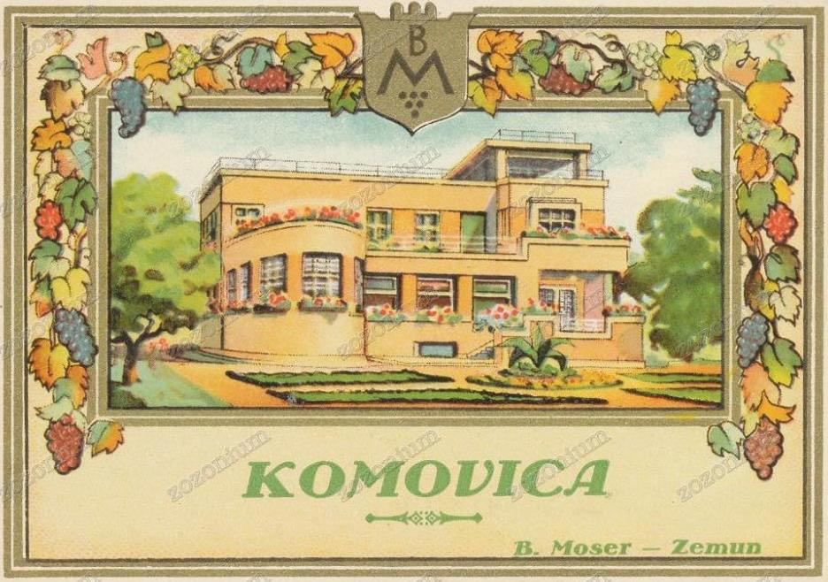 Etiketa rakije Komovica, sa prikazom vile Mozer