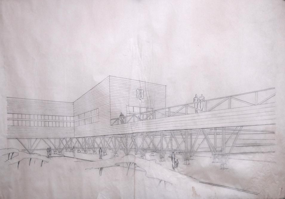 Perspective drawing of one of the fair halls with an access walkway