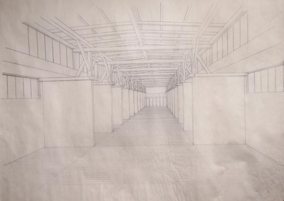Perspective drawing of the interior of a fair exhibition hall