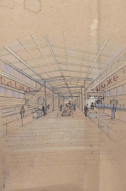 Drawing of the interior of the fair exhibition hall