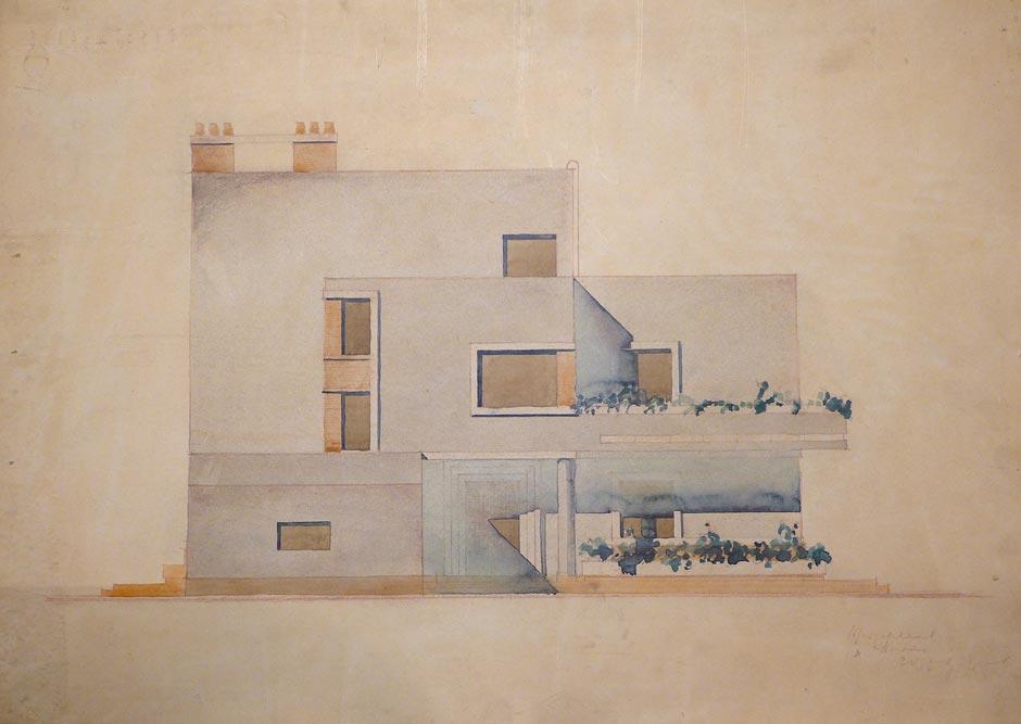 Crtež bočne fasade, ulaz