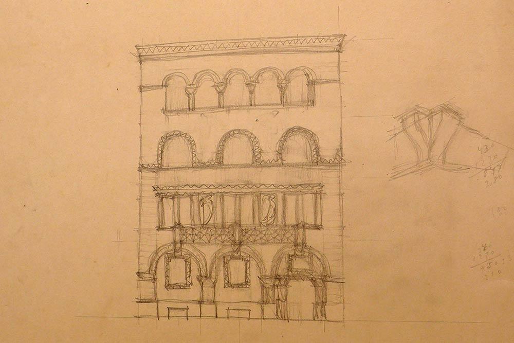Sketch for the main street facade