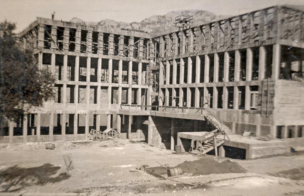 Reinforced concrete skeleton, building under construction, photography