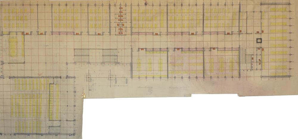Ground floor layout plan - working sketch, analysis