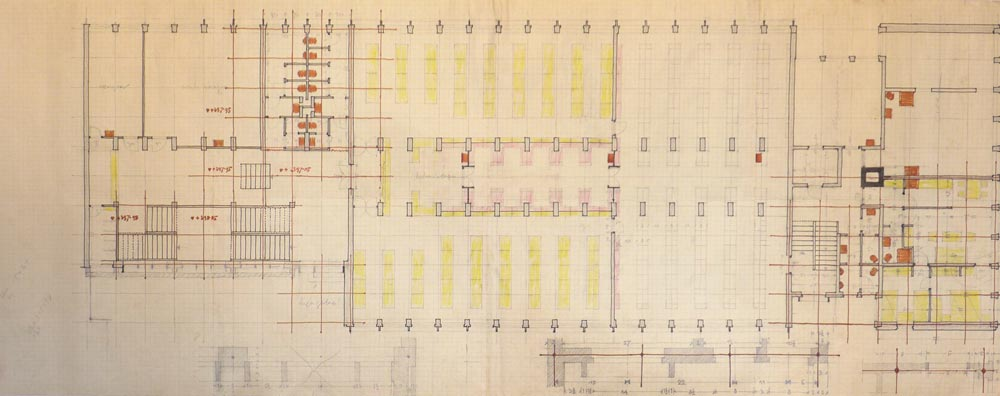 First floor layout plan - working sketch, analysis
