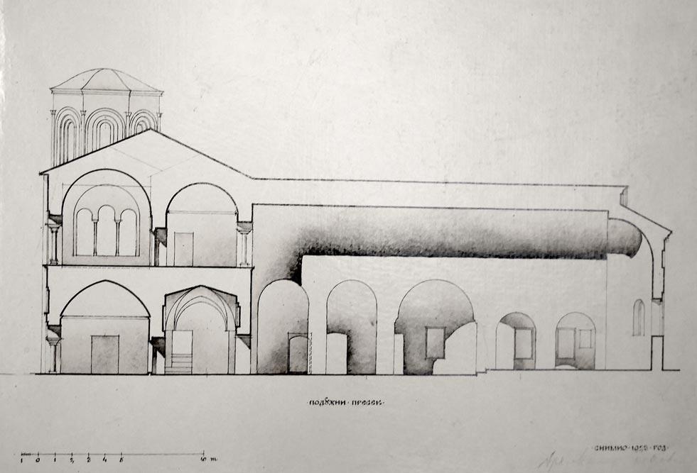 Crkva Sv. Sofije u Ohridu, podužni presek, snimak crkve iz 1923. godine