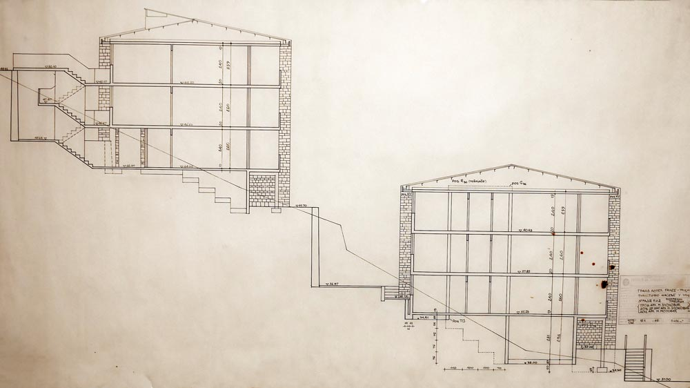 Cross section of buildings 1 and 2