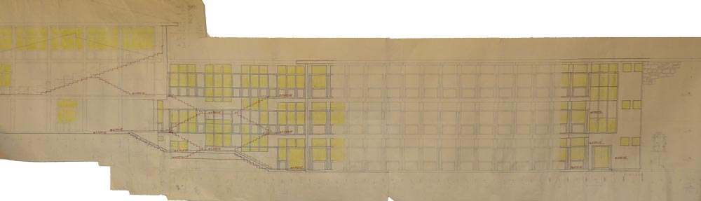 Elevation with elements of section, working sketch