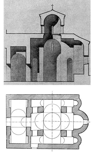 Crkva Sv. Germana u celu Germanu na Maloj Prespi, osnova i presek, snimak crkve iz 1923. godine