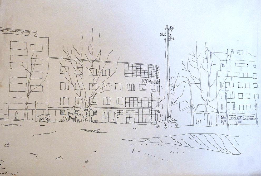 Perspektivni crtež, glavna fasada pre dogradnje