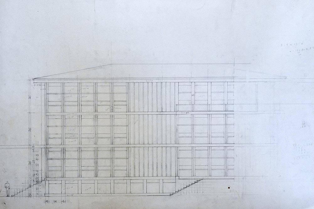 Part of the facade, working drawing