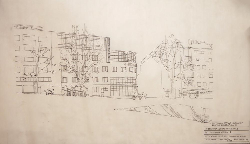 Dograđen objekat, perspektivni crtež, 1963. godine