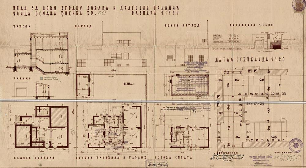Osnove etaža, preseci i izgledi vile Prendić