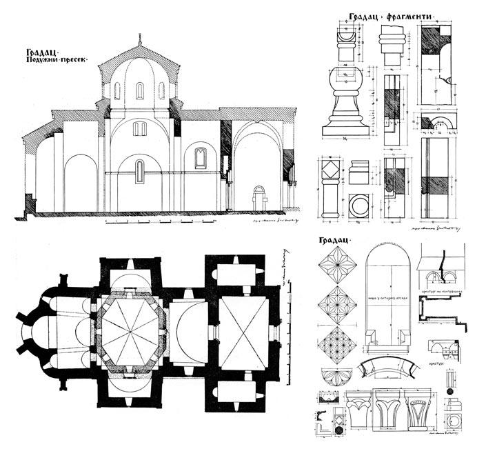 Crteži Bogorodičine crkve manastira Gradac, zadužbina kraljice Jelene, druga polovina XIII veka