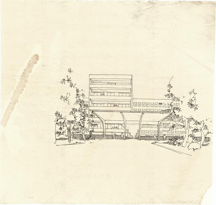 Perspektivni crtež, sa pogledom na bočnu fasadu krila