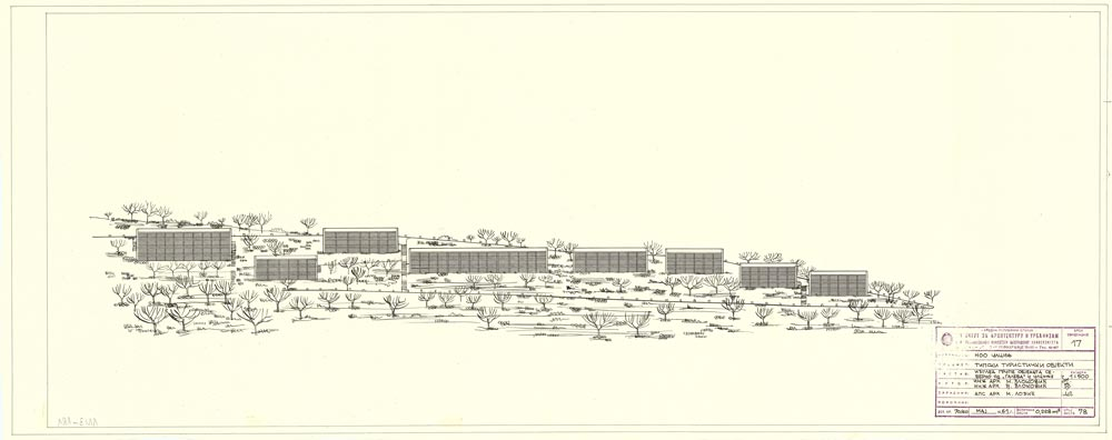 Elevation of a group of buildings, north of the Hotel Galeb