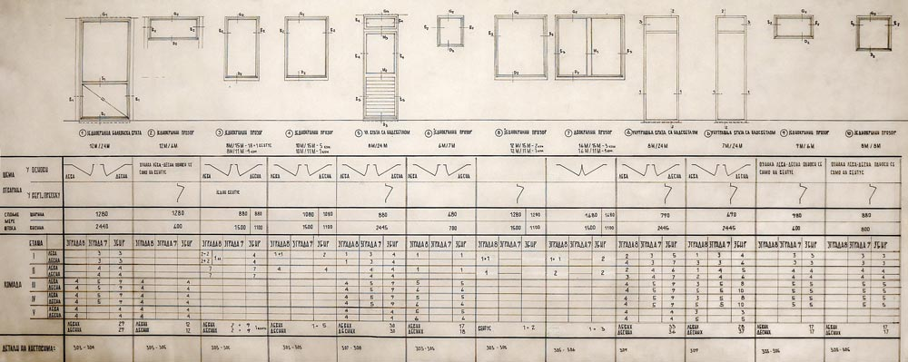 Schedule and schematic presentation of carpentry