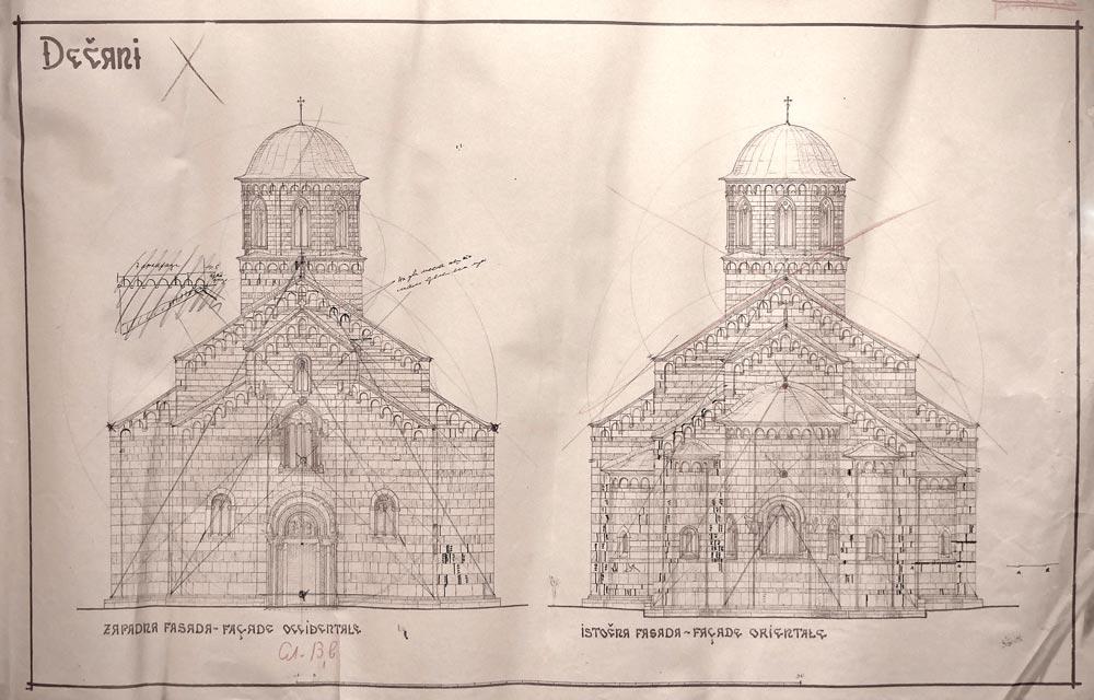 Manastir Dečani, početak XIV veka, crtež zapadne i istočne fasade