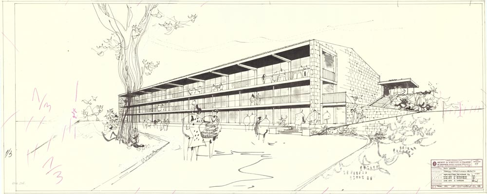 Perspective view of the restaurant building