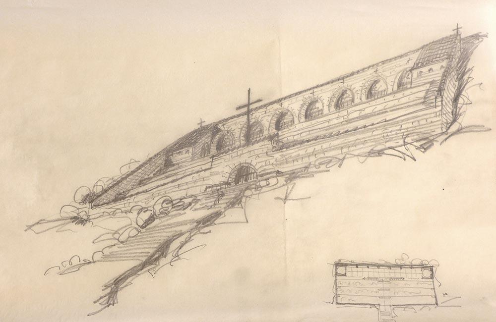 Radna skica, pogled na spomen kosturnicu