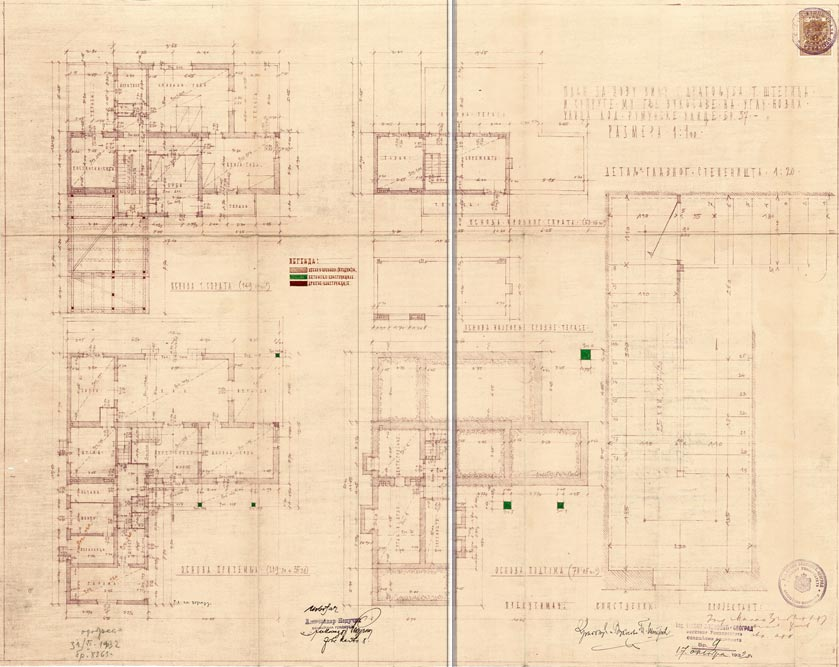 Osnove etaža i detalj glavnog stepeništa