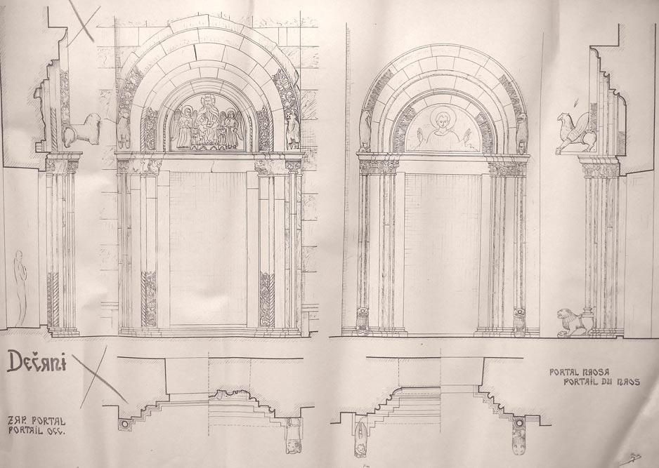 Manastir Dečani, crtež ulaznih portala