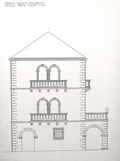 Palata Bujovića u Perastu, fasada prema Risnu