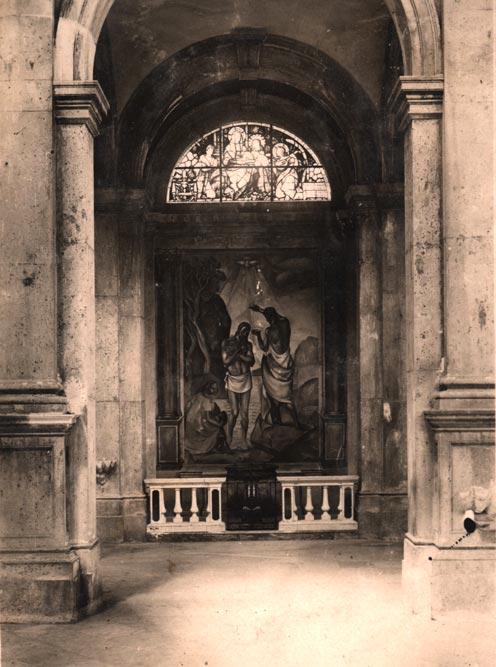"""Župna crkva u Prčanju, krstionica sa freskom """"Krštenje Isusovo u Jordanu"""" Mila Milunovića, fotografija iz 1923. godine"""