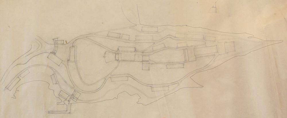 Working sketch of the terrain with the position of the buildings, analysis