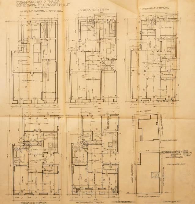 Floor plan of basements, basements, ground floors and first floors (I-IV)