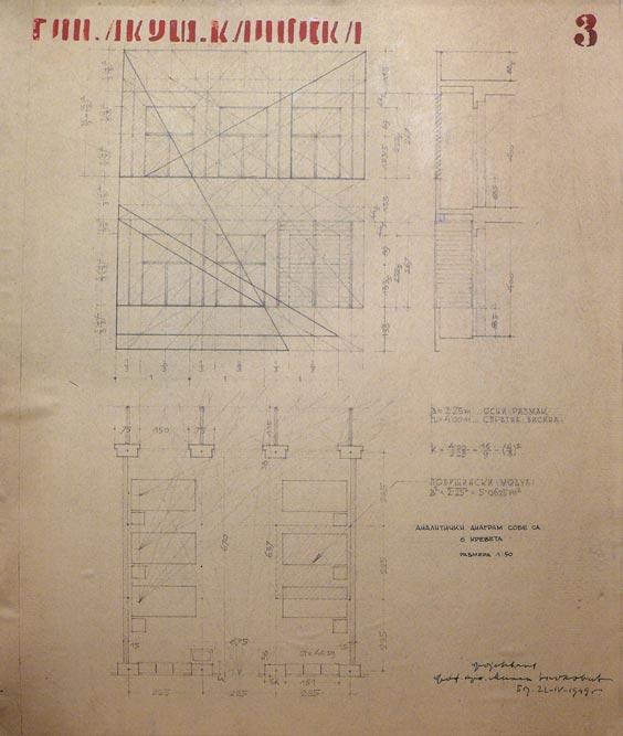 Analitički plan bolničke sobe sa šest kreveta