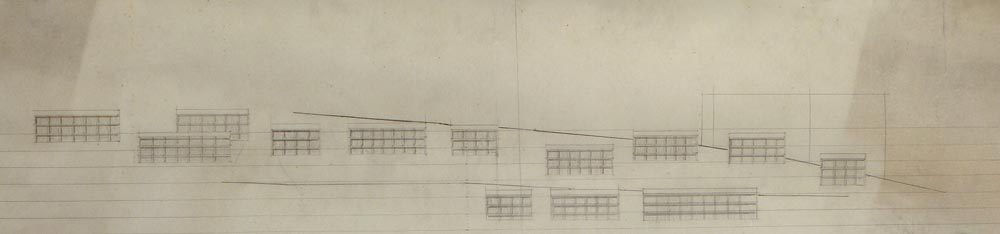 Working sketch, layout of buildings in the complex