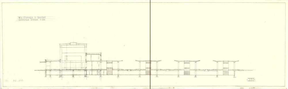 Poprečni presek kroz staničnu zgradu i perone