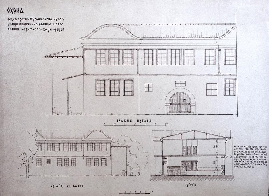 Jednospratna muslimanska kuća u Ohridu, izgledi. Snimljeno tokom ekspedicije 1935. godine