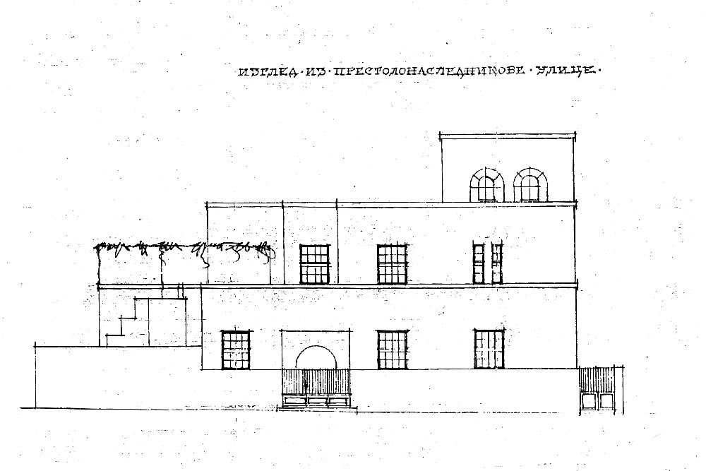 Elevation from the street International Brigades, with the entrance to the house