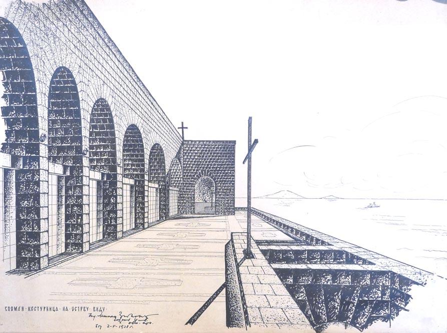 Perspektivni crtež, segment prostora sa pogledom na more