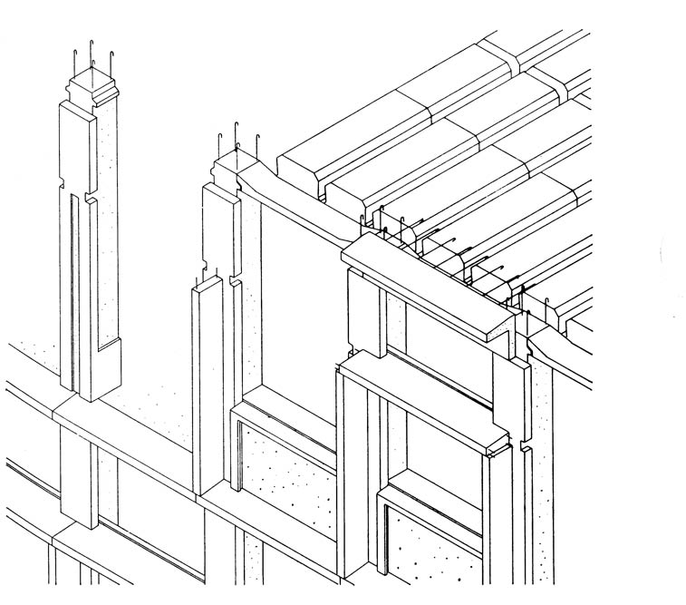 Axonometric view of the assembly of prefabricated facade elements: facade column, front part of the formwork facade beam with drip, lower part of the facade beam, window sill, vertical division beam, parapet with window sill and other hollow elements of the slab