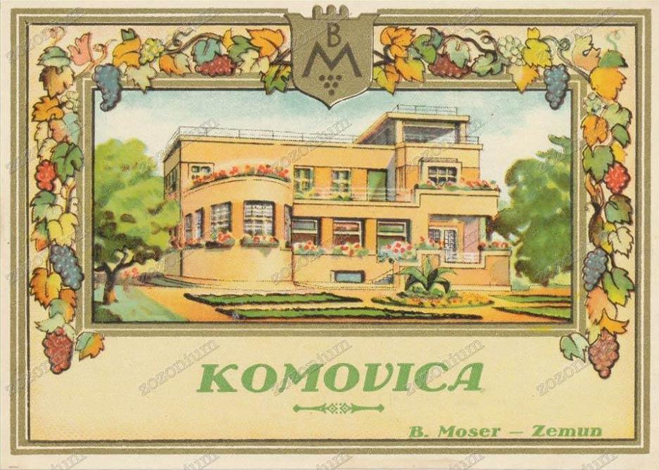 Vila Mozer, na etiketi flaše za rakiju podruma Mozer. Beograd 1929.